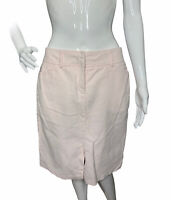 New York & Co Womens 4 Blush Pink Brushed Velvet Velour Skirt Front Slit Pockets