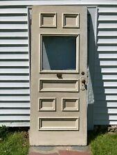 1902 Vintage Antique 6 Panel Solid Wood w/ Window Front Door Pantry 32x80