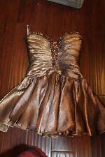 Sherri Hill Strapless Bronze Dress Short Full Skirt Ladies 6 prom dance(b103)