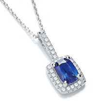 J JAZ Jolie Sterling Silver Blue & Clear Cubic Zirconia Stones Necklace