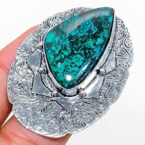 Chrysocolla Gemstone Handmade 925 Sterling Silver Jewelry Ring Size 7.5 Y176