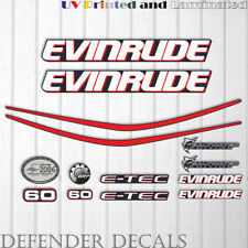 Evinrude 60hp e-tec outboard engine decal sticker set kit reproduction Blue Cowl