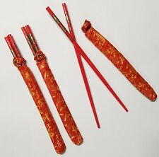 3 Pairs Chopsticks Red Classic Bamboo w/Silk Cover Bags Gift Set Dragon Print