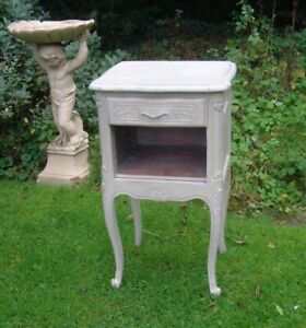 Antique French Country Hall  bedside Table  / long cabriole leg side table