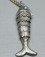 Gliederfisch-Wackelfisch Türkis Augen 800 Silber & massive, lange Ankerkette Sil