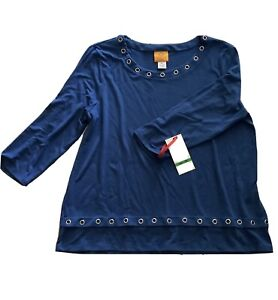 Ruby Rd. Women's sz PL 3/4 Sleeved Pullover Top Marine Blue soft knit w Grommets