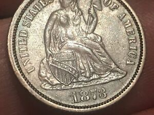 1873 Seated Liberty Silver Dime- No Arrows, Closed 3, AU Details