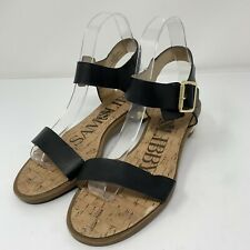 Sam & Libby Tina Quarter Strap sandals Black Open Toe Gold Low Heel Ankle 8.5