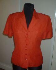 CACHAREL veste en LIN manches courtes vintage taille 40 rouge doublure moirée