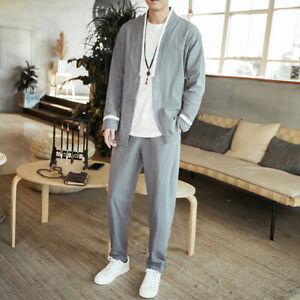 Herrenmode Chinesischer Stil Komfort Langarm Baumwolle und Leinen Hose Anzug Neu
