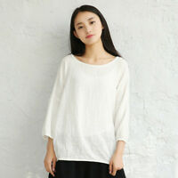 Summer Cotton Linen Shirt Ladies Casual Batwing Sleeve Loose Blouse Pullover Top