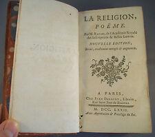 LA RELIGION, POEME / RACINE / RELIURE CUIR 1772