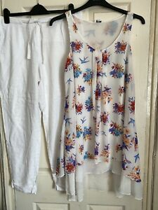 M&S White Linen Casual Trousers/New Look Floaty Top Bundle Size 14 ( F)