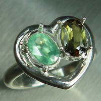 Natural Andalusite & Kyanite 925 silver 9ct 14k 18k Gold engagement heart ring