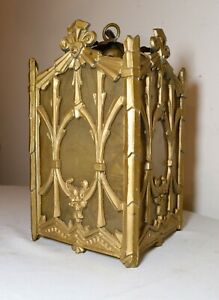 antique gold gilded Art Deco ornate hanging chandelier ceiling fixture