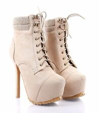 Beige nn Faux Suede Lace Up Stilettos Mid Calf Womens High Heels Boots Size 9