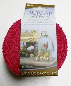 Fuchsia Burlap Ribbon  2-1/2 Inch x 30 Feet  100% Natural Jute NWT