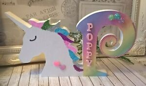 ❤ Wooden freestanding unicorn capital initial letter. Personalised name glitter❤