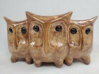 Vintage 1960s RED WING 897 Pottery 3 Owl Planter Vase Glazed Speckled Brown MCM