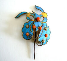 Qing Dynasty Kingfisher Feather Hair Pin Antique VINTAGE Coral Chinese Ca.1850點翠