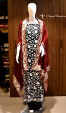 Red Velvet Cape, Paisley-Chinar Design Woman Shawl, Red Velvet Embroidered Stole