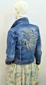 coole Melly& Co Damen Jeans Jacke Glitzer Pailletten Häuptling Totenkopf XS-XL