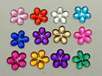 500 Mixed Color Flatback Flower Rhinestone Gem 10mm DIY Embellishments