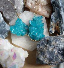 Aqua Aura cluster Stone Necklace silverChain Crystal Healing Spiritual Support