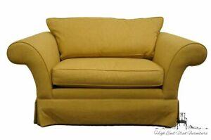 ETHAN ALLEN Contemporary Modern Golden Yellow Upholstered Loveseat Sofa