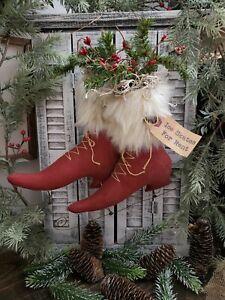 "Primitive Handmade Christmas Ice Skates Hanging Decor 11"" X 11"" Santa Skates"