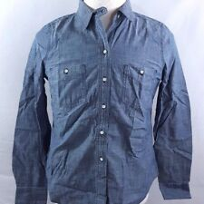 LANDS' END CANVAS Blue CHAMBRAY Denim Button Down Front Shirt Women's 8 Medium