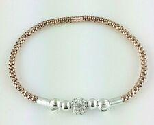 Plaqué or Rose en Argent Sterling 925 Maille Étirée Bracelet avec Crystal Ball