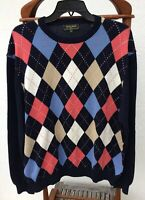 Men's Bobby Jones Collection L/S Golf Sweater Multi Color Crew neck Sz XL Cotton