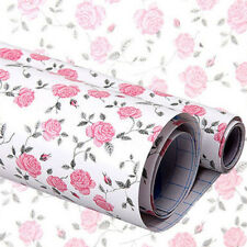 DIY Pink Peony Floral Self Adhesive Drawer Liner Contact Paper Sticker 45x200cm