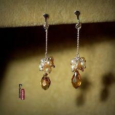 Boucles d`Oreilles Clip Perle de Culture Fin Goutte Ambré Original Cadeau