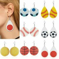 New Trendy PU Leather Ball Teardrop Earrings Women Fashion Sport Jewelry Gift
