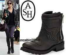 New in Box~ Ash ~ Fashion Leather Motorcycle Boots Shoes, Black, EUR 38