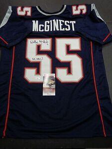 Willie Mcginest New England Patriots Autographed INSCRIB Custom Jersey COA-JSA-
