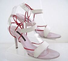 NARCISO RODRIGUEZ Light Pink White Leather Strappy Sandals Size 38 1/2 Italy