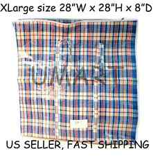 X Large Plastic Woven Laundry Storage Clothes Shopping Zipper Bag / Handles