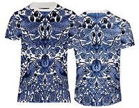 NEUF WILLIAM /& Morris Bleu Oiseaux Motif T-shirt Royaume-Uni Coupe Standard /& Tailles