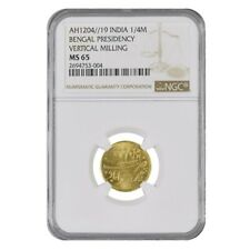 AH 1204 (1819) British India Bengal Presidency 1/4 Mohur Gold Coin NGC MS 65