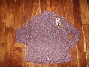 NWT Womens BASS Cherry Combo Burgundy Asymmetrical Wrap Cardigan Jacket Size XXL