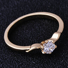 Cute Womens Ring 5-Fingers Pattern Clear CZ Yellow Gold Filled Ring Size 5