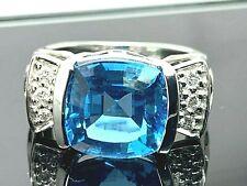 Blue Topaz & Diamonds Ring Apx 5.05ctw 18k White Gold Womens Estate Jewelry SZ 6