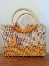 CUTE Nine West Straw Purse Baguette Natural Orange Round Wooden Handles