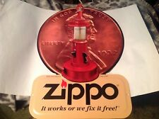 Zippo Lighter Penny Oil Lantern Sign Metal Embossed Rare Excellent Condition