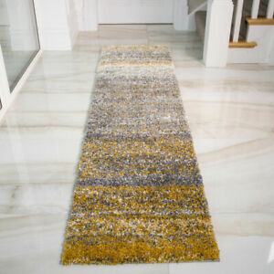 Mustard and Grey Long Shaggy Runner Rug | Ochre Carpet Runners | Hallway Runners