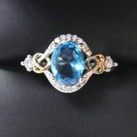2CT Oval Blue Aquamarine Ring Women Wedding Engagement Jewelry Gift Free Ship