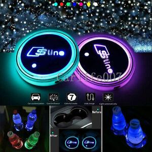 2PCS LED Car Cup Holder Lights Pad Mat for Audi Sline 7 Colors Atmosphere Lamp